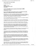 Aurora Health Care receives Governor's 2002 Diamond Award