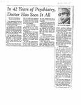 News article by Dr. Carroll Osgood describing his 42 years at the Milwaukee Sanitarium by Jonathan T. Van Beckum