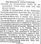 Announcement of Milwaukee Sanitarium's creation