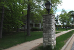 Single remaining pillar from the old entrance gate to the Milwaukee Sanitarium