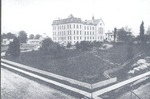 Long distance view of main Milwaukee Hospital building.