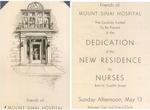 Mount Sinai Hospital New Residence for Nurses dedication invitation