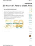 50 Years of Aurora West Allis - Hospital construction